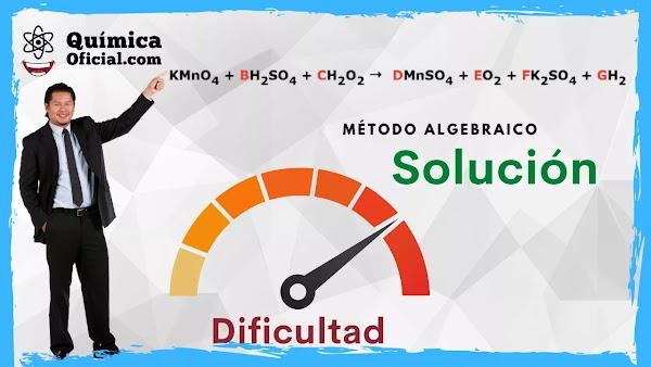 ▷  KMnO4 + H2SO4 + H2O2 →  MnSO4 + O2 + K2SO4 + H2O Balanceo Método algebraico ✅ Solución