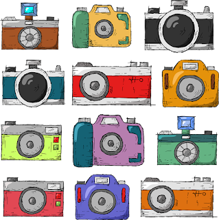 Picture of 12 colorfully drawn cameras