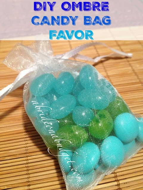 Edible favors are a big hit at weddings. You'll love this DIY Ombre Candy Bag Favor from www.abrideonabudget.com. It's super easy to make and your guests will love it!