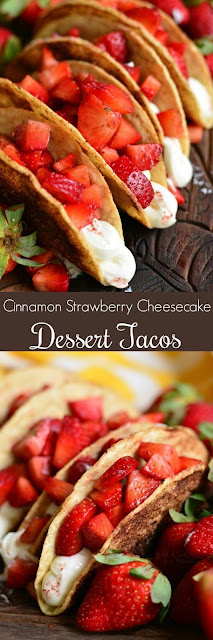Cinnamon Strawberry Cheesecake Dessert Tacos