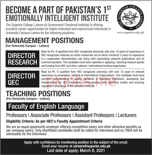 Latest The Superior College Teaching & Management Posts 2021 Ad2