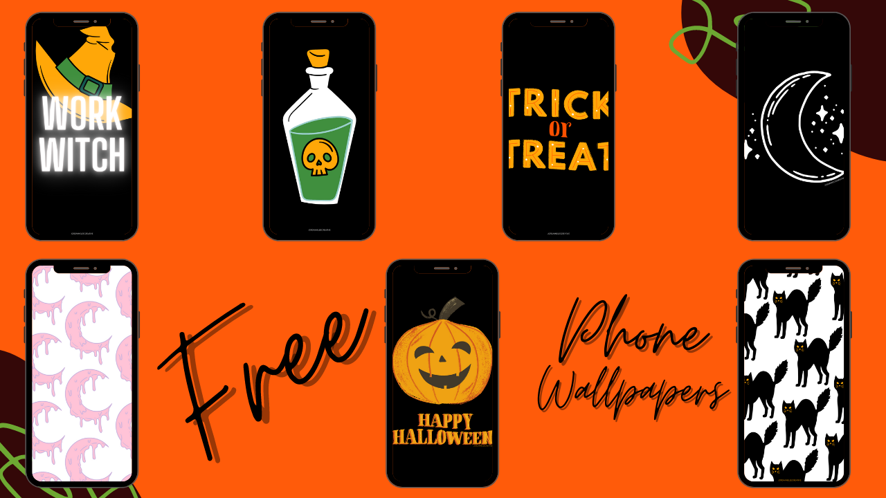 Graphic displaying 7 of the FREE phone backgrounds available to download
