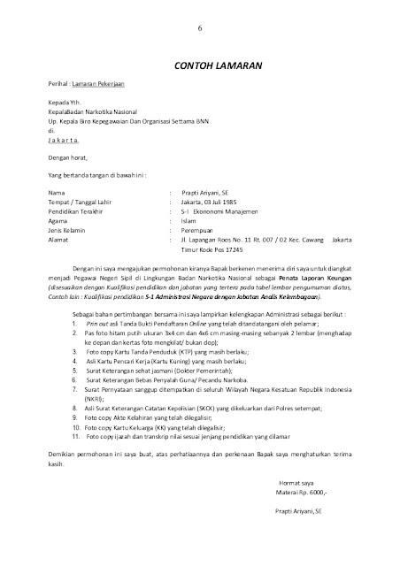 Contoh Surat Lamaran Kerja PNS yang Baik dan Benar (via: madreview.net)