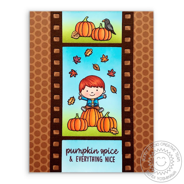 Sunny Studio Stamps: Pumpkin Spice & Everything Nice Card featuring Happy Harvest & Fall Kiddos stamps, Fall Flicks Filmstrip die & Dots & Stripes Jewel Tones Patterned Paper