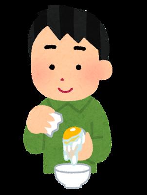卵の白身と黄身を分ける人のイラスト