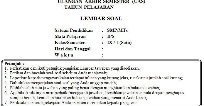 Soal Uas Kisi Kisi Dan Kunci Jawaban Ips Smp Kelas 9 Semester Ganjil Kurikulum 2006 Mgmp Ips Indramayu