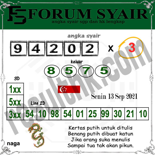 Forum Syair SGP Senin 13 September 2021