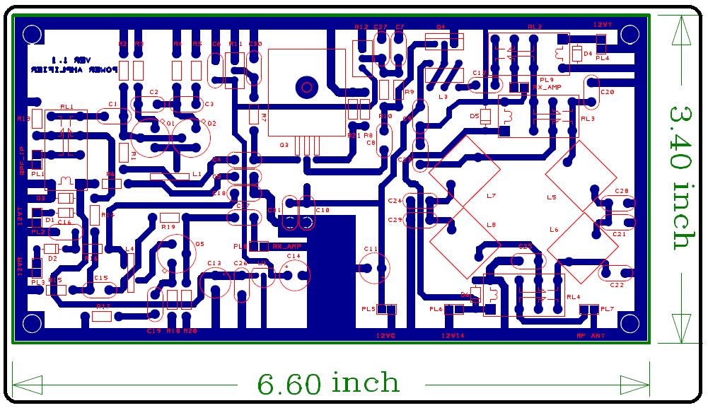 Ham Radio MIPL PCB Design Power Amplifier 2B TRX V11