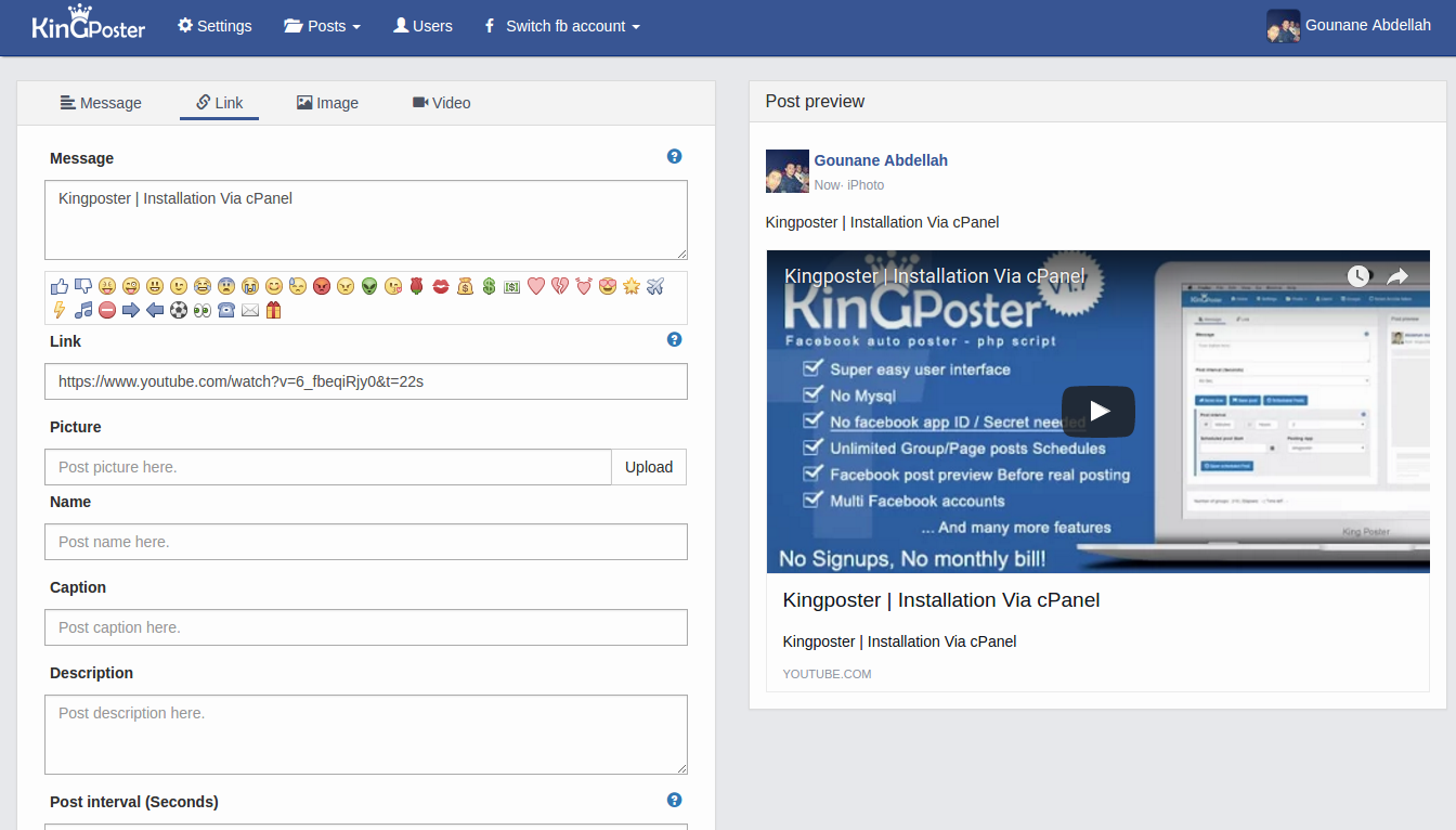 King poster 1 7 9 | Facebook multi Group / Page auto post - PHP script
