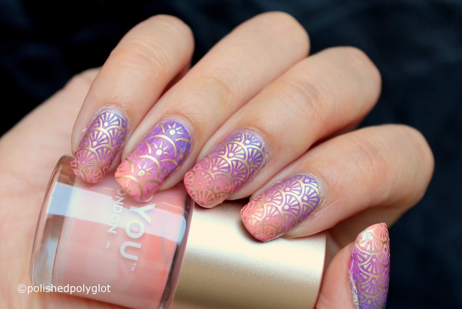 Nail Art │ Peach and Lilac Stamped gradient Manicure [26 Great Nail ...