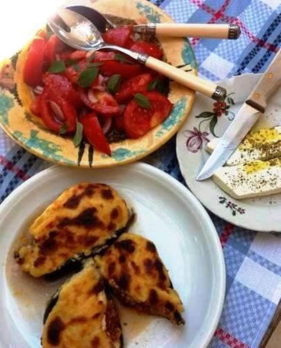 Papoutsakia, tomato & basil salad and feta cheese.