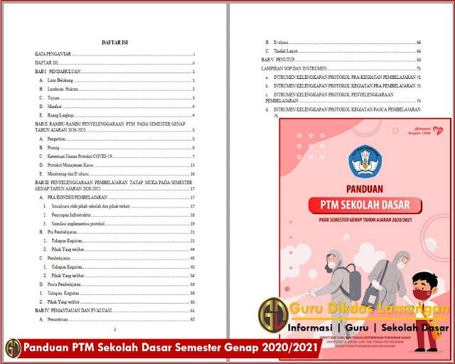 Panduan PTM Sekolah Dasar Semester Genap 2020/2021 Dapat Dilaksanakan Setelah Mendapat Ijin Dari Pemerintah Daerah