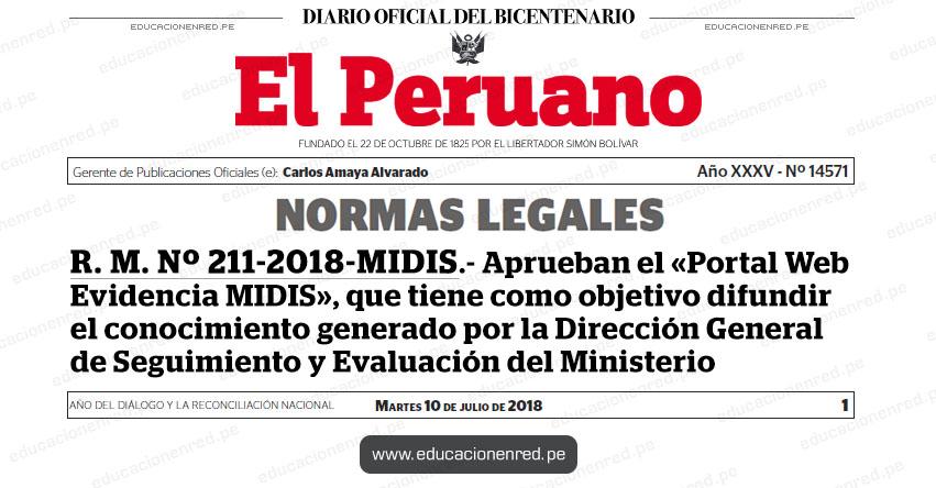 R. M. Nº 211-2018-MIDIS - Aprueban el «Portal Web Evidencia MIDIS», que tiene como objetivo difundir el conocimiento generado por la Dirección General de Seguimiento y Evaluación del Ministerio - www.midis.gob.pe