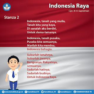 Lagu Indonesia Raya secara Utuh terdiri atas  LAGU INDONESIA RAYA STANZA 1, 2, 3 LENGKAP DENGAN PENJELASANNYA