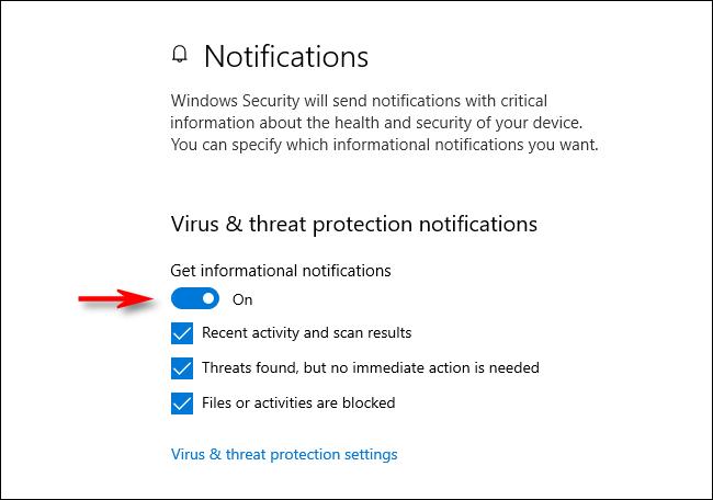 إعلامات الحماية من الفيروسات والمخاطر في Windows 10