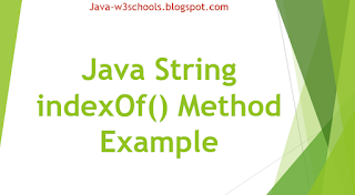 Java String indexOf() Method Example