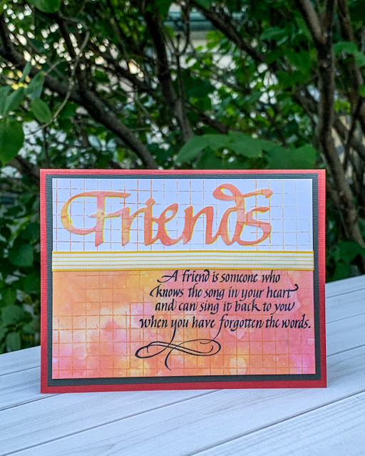 Friends card / Quietfire Design stamps / Elizabeth Craft Designs die / card by Kim Gowdy