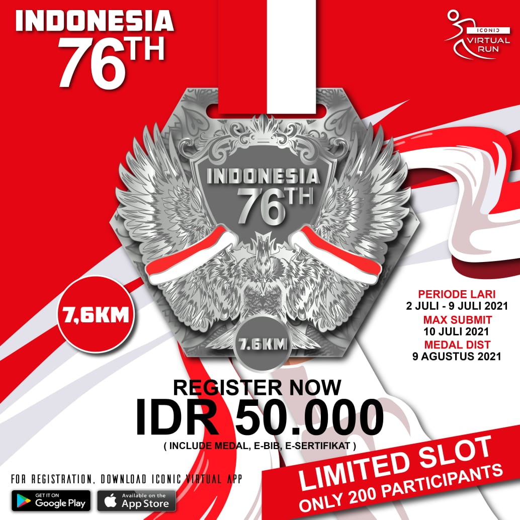 Iconic Virtual Run ∙ HUT 76th INDONESIA 🇮🇩 Series • 2021