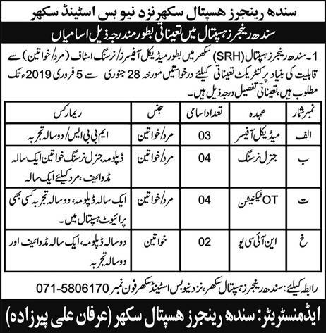 Jobs Vacancies In Sindh Rangers Hospital Sukkur 27 January 2019