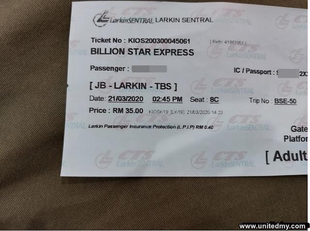 Larkin Terminal Johor Bahru to TBS