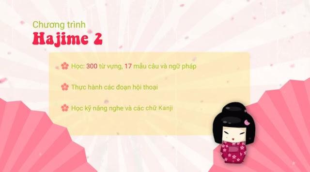 Khóa học tiếng Nhật cho người mới bắt đầu chương trình Hajime 2