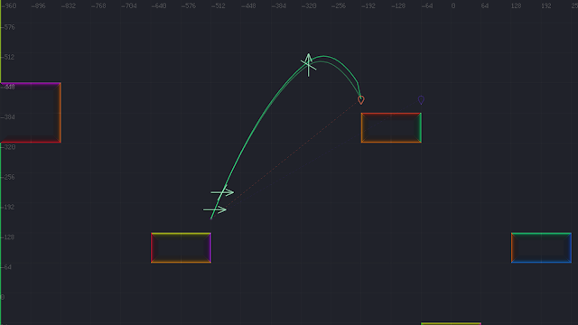 A screenshot showing to jump-trajectory arcs that differ slightly. One arc represents positions that we've calculated at build-time, and one represents what happens at runtime.