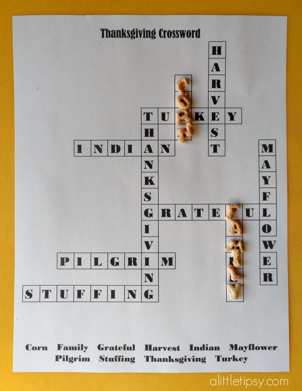Printable Thanksgiving Crossword For Kids A Little Tipsy