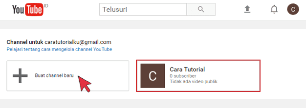 Buat Channel baru Youtube - www.caratutorial.com