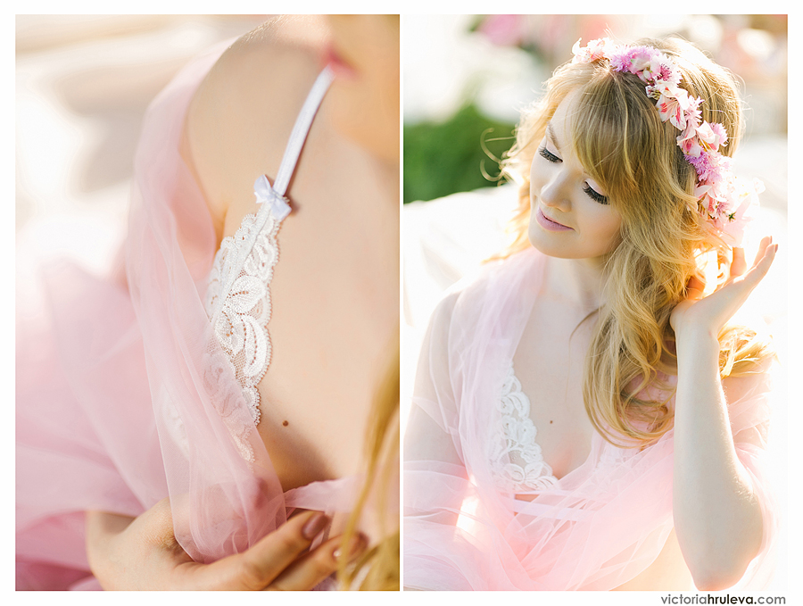 утро невесты на природе, будуарная фотосессия в нежно розовом тоне
