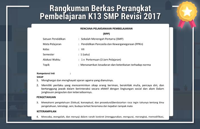 Rangkuman Berkas Perangkat Pembelajaran Kurikulum 2013 SMP Revisi 2017