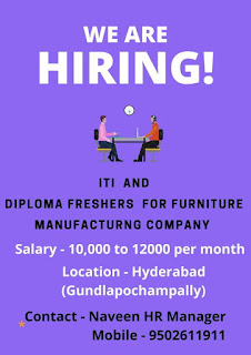 Hiring for ITI and Diploma Freshers for Furniture Manufacturing Company.