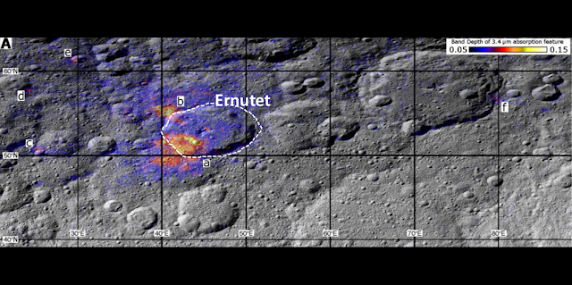 "SwRI scientists are studying the geology associated with the organic-rich areas on Ceres. Dawn spacecraft data show a region around the Ernutet crater where organic concentrations have been discovered (labeled ""a"" through ""f""). The color coding shows the strength of the organics absorption band, with warmer colors indicating the highest concentrations. Image Courtesy of NASA/JPL-Caltech/UCLA/ASI/INAF/MPS/DLR/IDA"