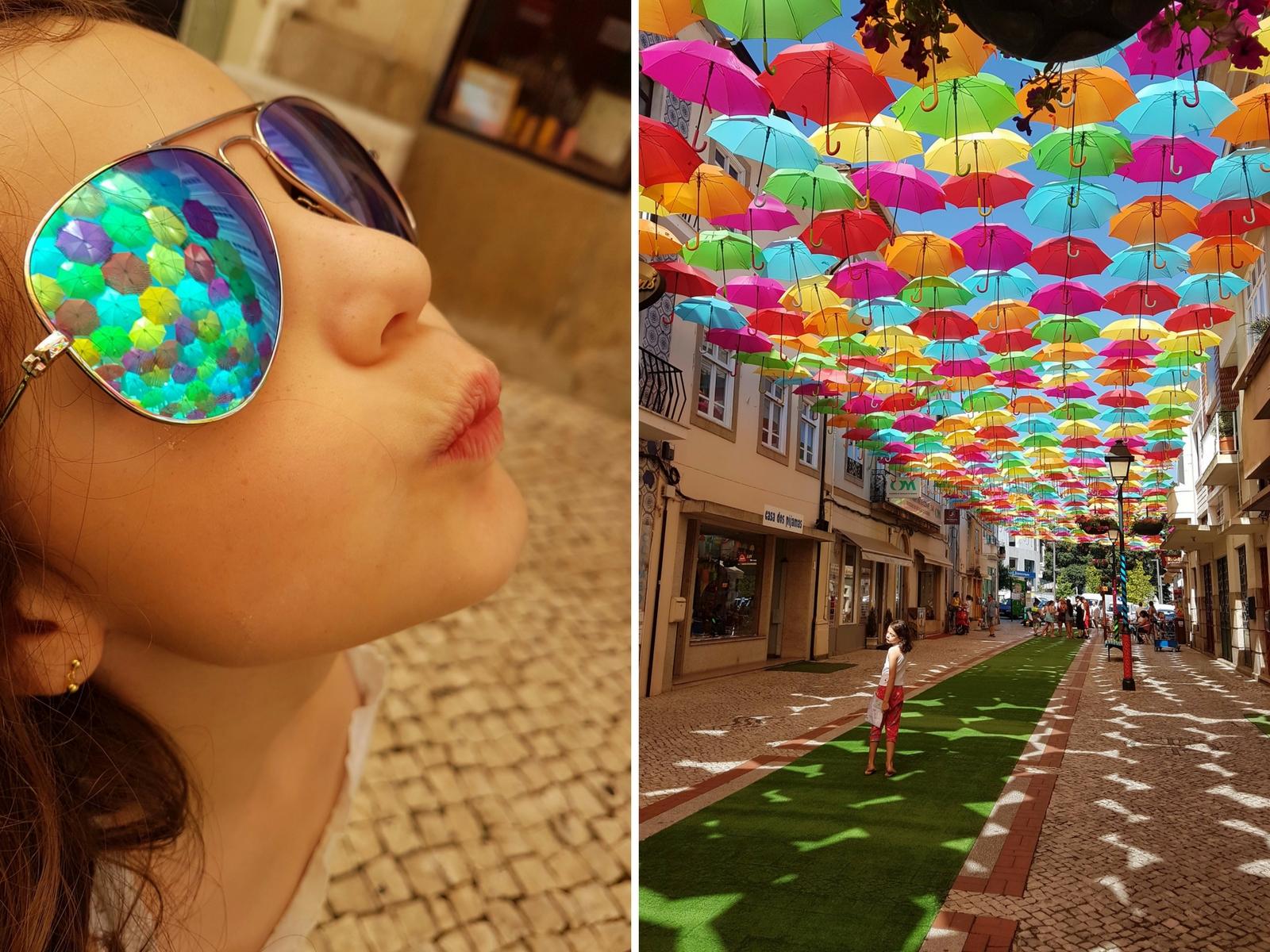 Sombrinhas coloridas nas ruas de Águeda