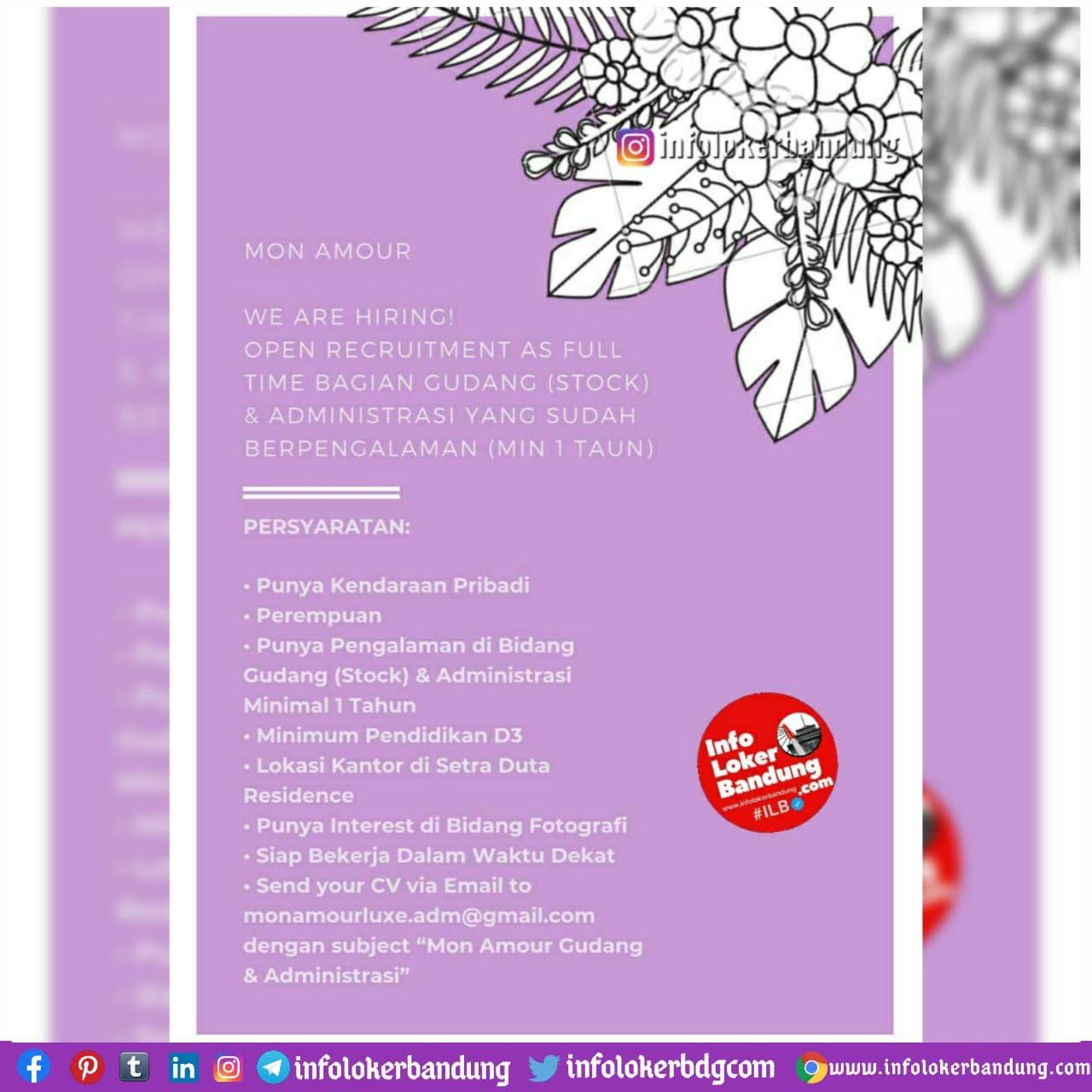 Lowongan Kerja Bagian Gudang ( Stock ) & Administrasi Mon A Mour Bandung November 2020