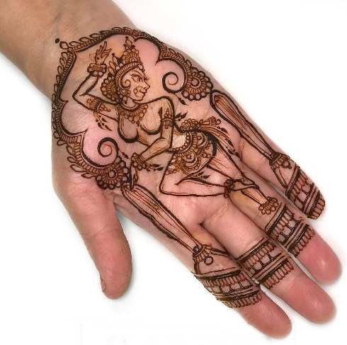 Dancing Deity Mehndi Design for front hand