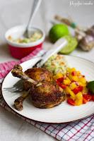 (Kurczak cajun z salsą z mango i guacamole