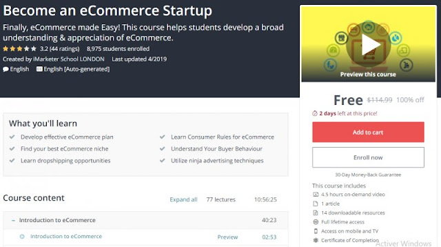 [100% Off] Become an eCommerce Startup| Worth 114,99$