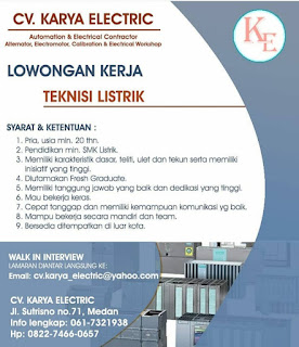 Teknisi Listrik di CV Karya Elektrik