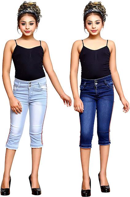 Girls Kids Casual WEAR Slim FIT Denim Capri (Combo of 2)