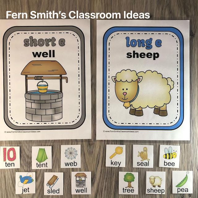 Short Vowels Sort and Long Vowels Sort with Vowel Activities Resource Bundle Perfect for Kindergarten, First, & Second Grade #FernSmithsClassroomIdeas