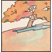 Illustration of autumn tree on hillside