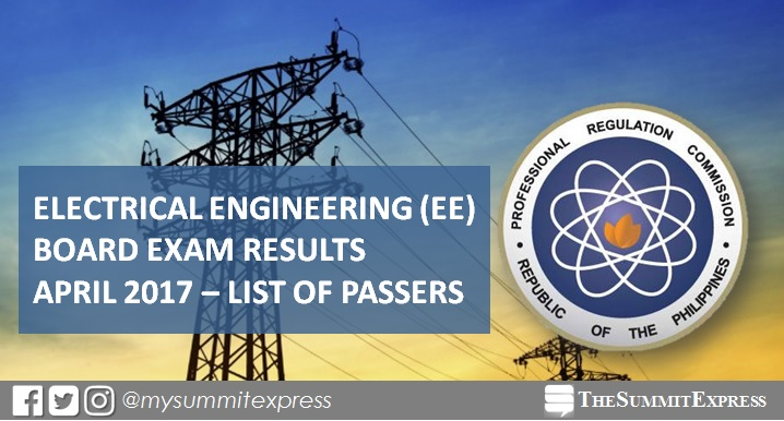 April 2017 Electrical Engineer REE, RME board exam results