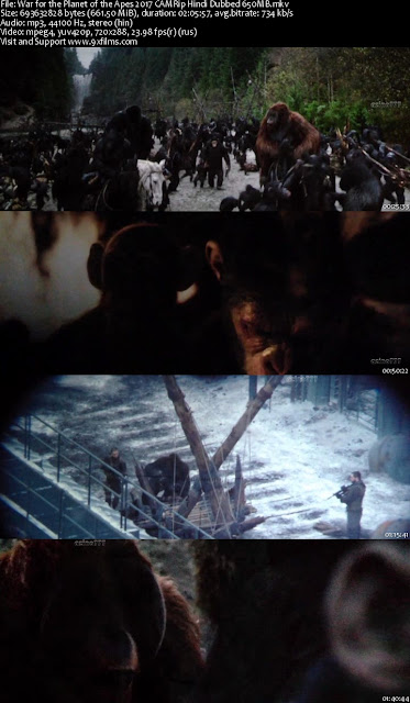 War for the Planet of the Apes 2017 CAMRip Hindi Dubbed