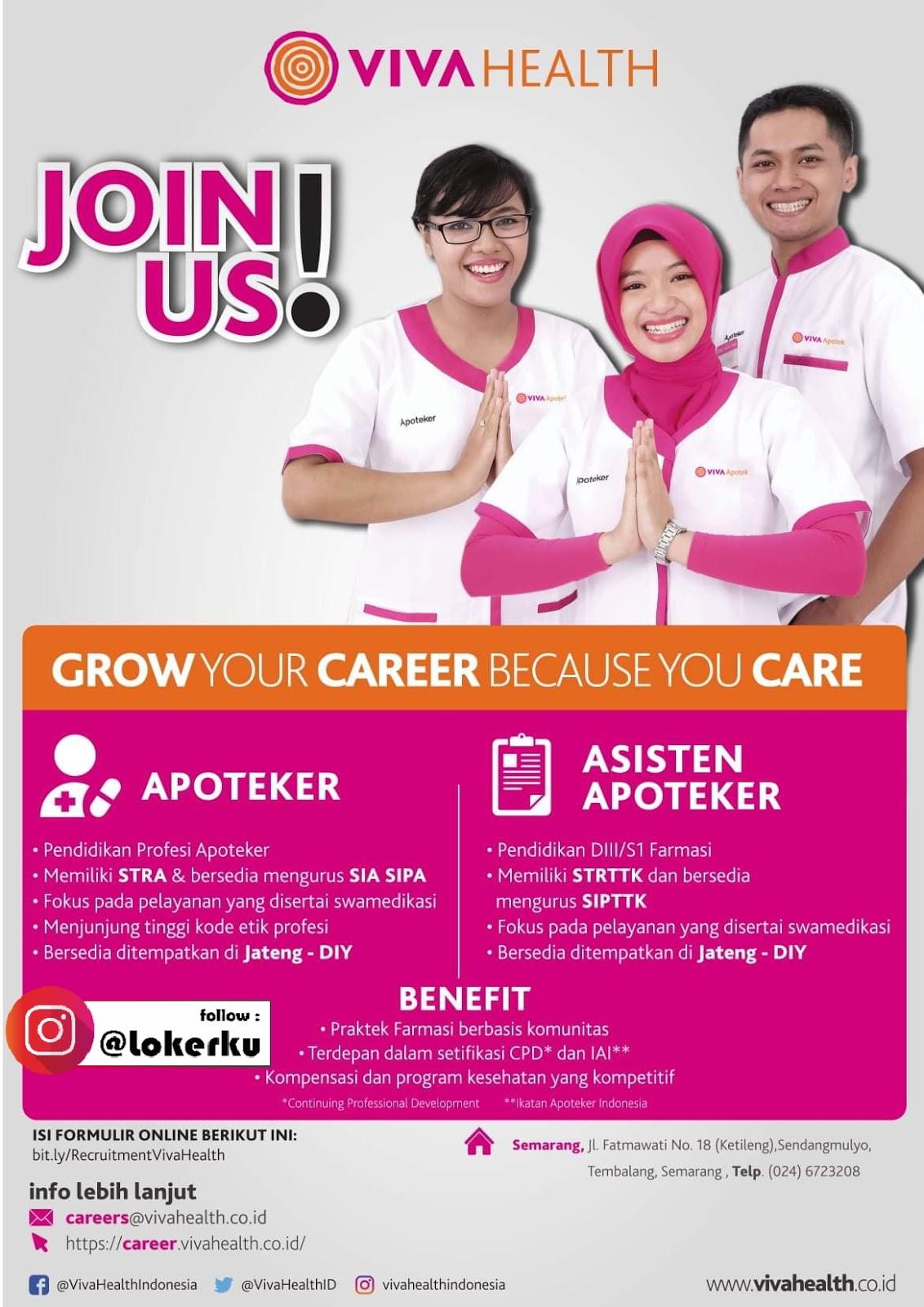Lowongan Kerja Apoteker Asisten Apoteker Di Viva Health Jawa Tengah Diy Lowongan Kerja Kudus Terbaru 2021
