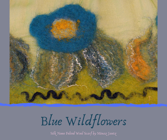 Blue Wildflowers felting detail.