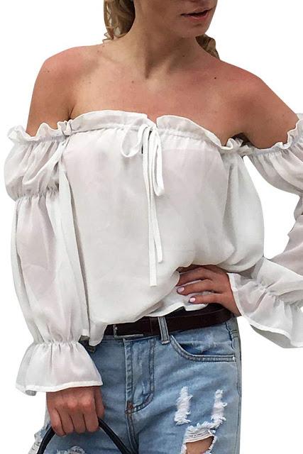 Iyasson Bardot Shirred Cuff Top