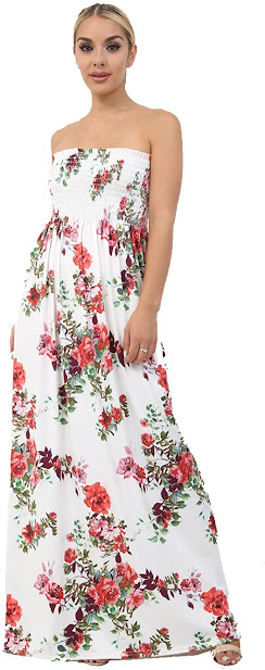 Floral Strapless Maxi Dresses