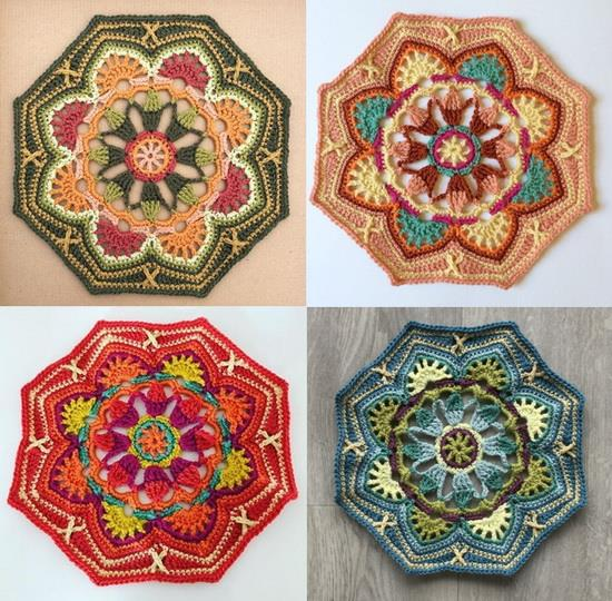 Crochet blanket, Persian Tile, The main octagon motif in different beautiful colors