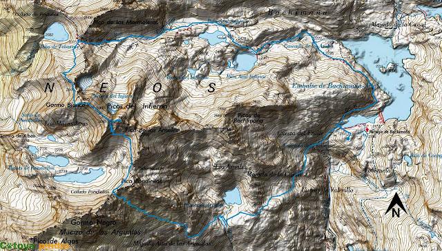 Mapa de la ruta señalizada a los Picos del Infierno desde el Refugio de Bachimaña.