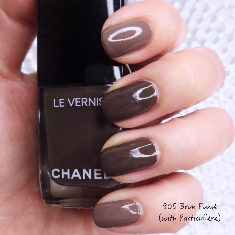 Chanel Le Vernis Brun Fume, Particuliere comparison swatches
